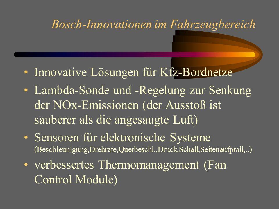 Bosch-Innovationen im Fahrzeugbereich Motormanagement Motronic Common-Rail -Speichereinspritzung Präzisions-Diesel-Einspritzsysteme (UIS) Dieselvertei