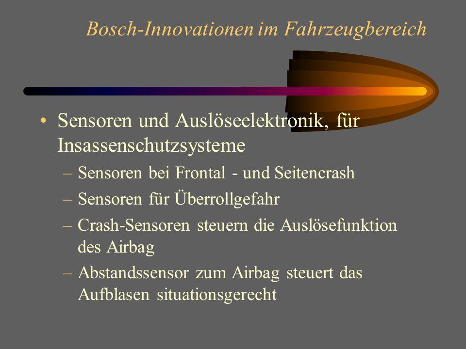Bosch-Innovationen im Fahrzeugbereich Sicherheit im Auto ABS und ASR stabilisieren das Auto in Längsrichtung beim Anfahren und Bremsen ESP regelt die