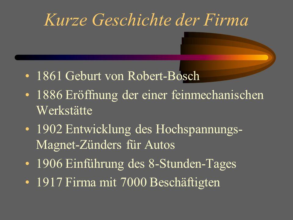 Kurze Geschichte der Firma 1861 Geburt von Robert-Bosch 1886 Eröffnung der einer feinmechanischen Werkstätte 1902 Entwicklung des Hochspannungs- Magnet-Zünders für Autos 1906 Einführung des 8-Stunden-Tages 1917 Firma mit 7000 Beschäftigten