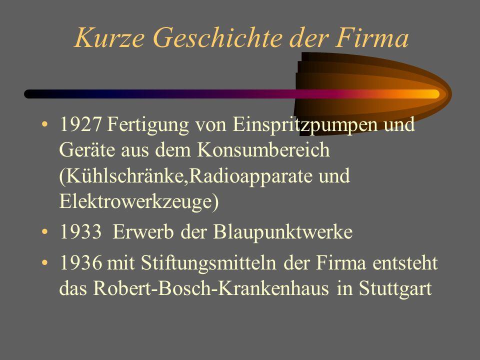 Kurze Geschichte der Firma 1927 Fertigung von Einspritzpumpen und Geräte aus dem Konsumbereich (Kühlschränke,Radioapparate und Elektrowerkzeuge) 1933 Erwerb der Blaupunktwerke 1936 mit Stiftungsmitteln der Firma entsteht das Robert-Bosch-Krankenhaus in Stuttgart
