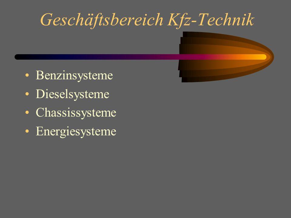 Geschäftsbereich Kfz-Technik Benzinsysteme Dieselsysteme Chassissysteme Energiesysteme