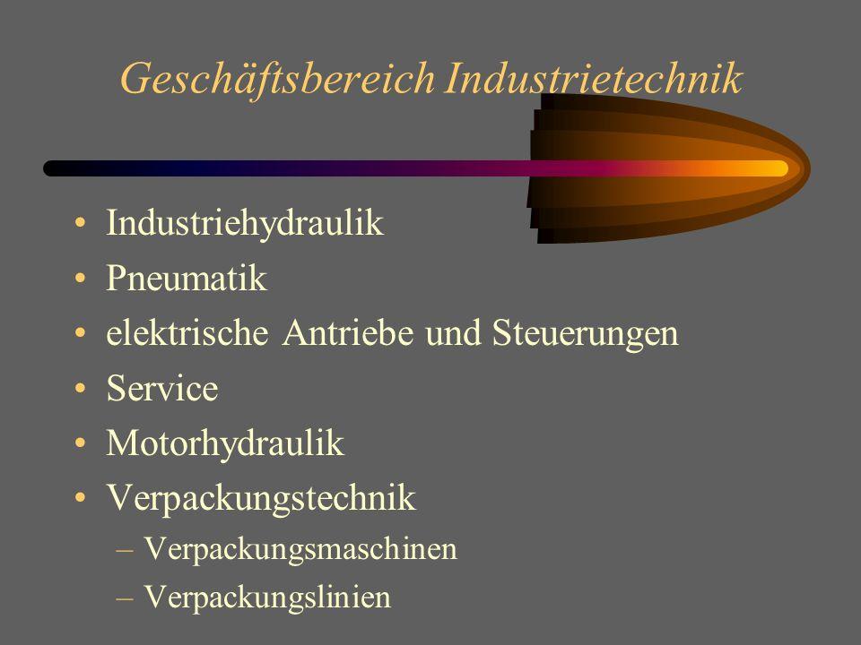 Geschäftsbereich Industrietechnik Industriehydraulik Pneumatik elektrische Antriebe und Steuerungen Service Motorhydraulik Verpackungstechnik –Verpackungsmaschinen –Verpackungslinien