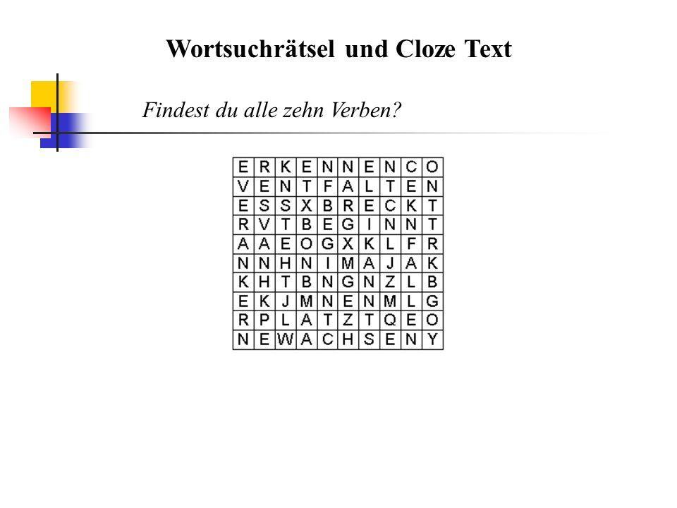 Wortsuchrätsel und Cloze Text Findest du alle zehn Verben?