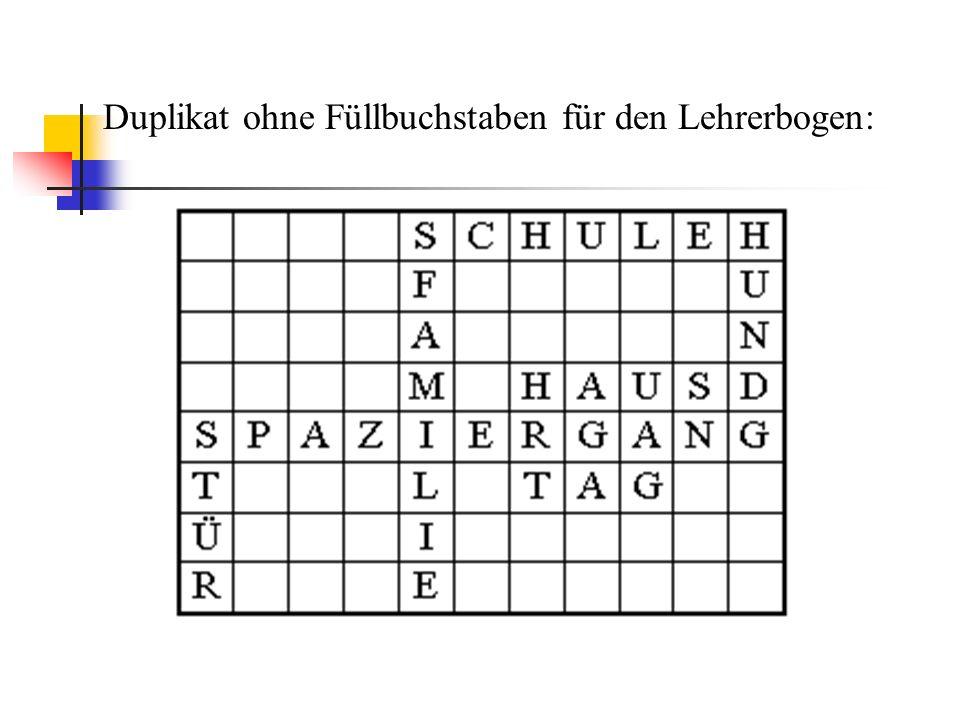 Duplikat ohne Füllbuchstaben für den Lehrerbogen: