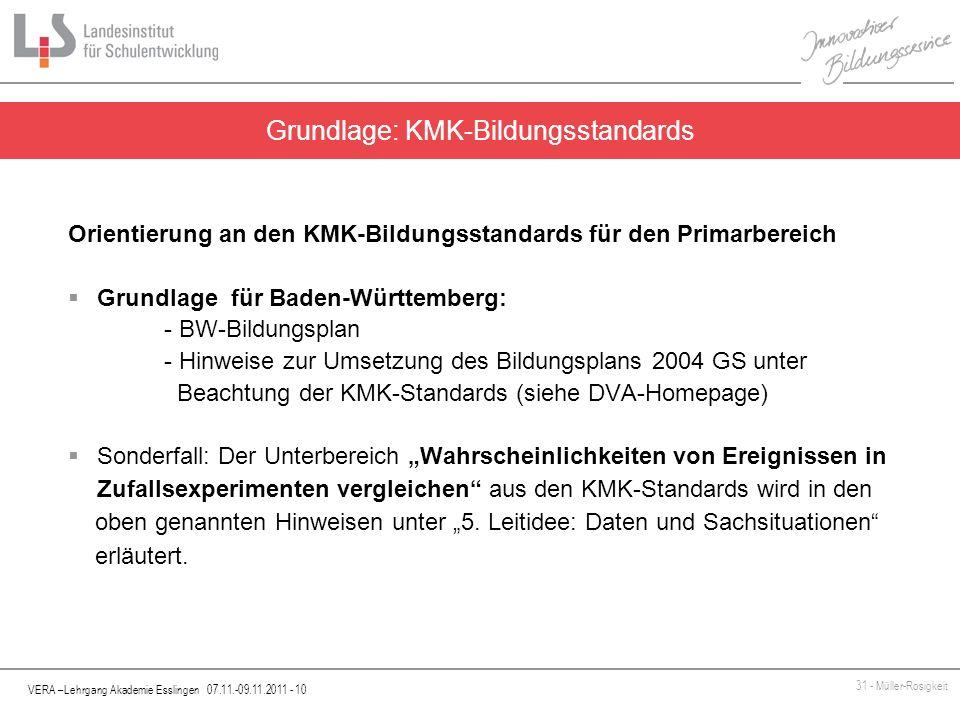 VERA –Lehrgang Akademie Esslingen 07.11.-09.11.2011 - 10 31 - Müller-Rosigkeit Orientierung an den KMK-Bildungsstandards für den Primarbereich Grundla
