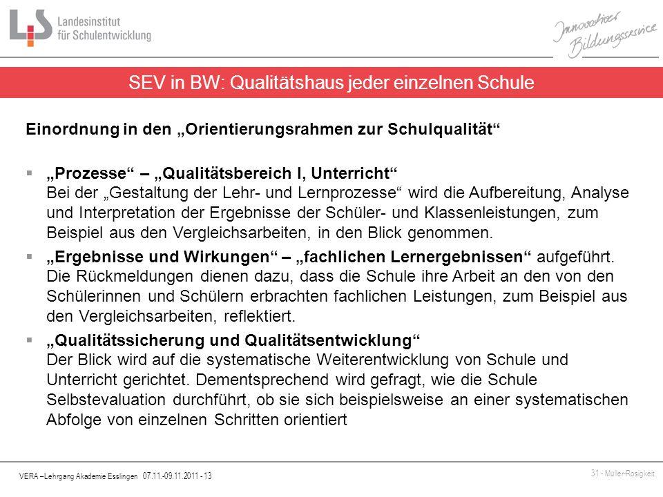VERA –Lehrgang Akademie Esslingen 07.11.-09.11.2011 - 13 31 - Müller-Rosigkeit SEV in BW: Qualitätshaus jeder einzelnen Schule Einordnung in den Orien