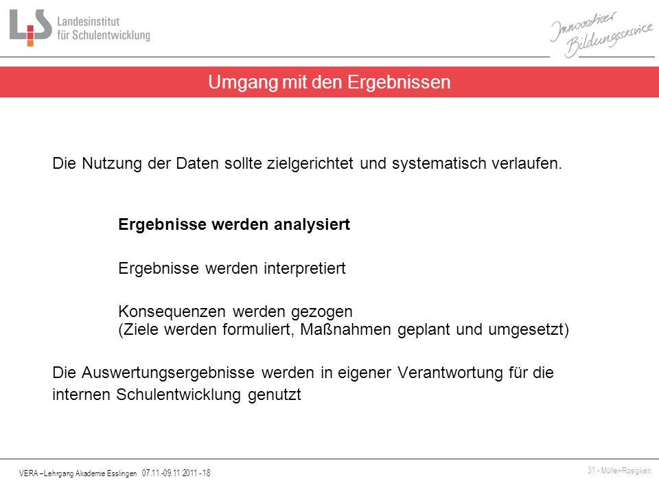 VERA –Lehrgang Akademie Esslingen 07.11.-09.11.2011 - 18 31 - Müller-Rosigkeit Die Nutzung der Daten sollte zielgerichtet und systematisch verlaufen.