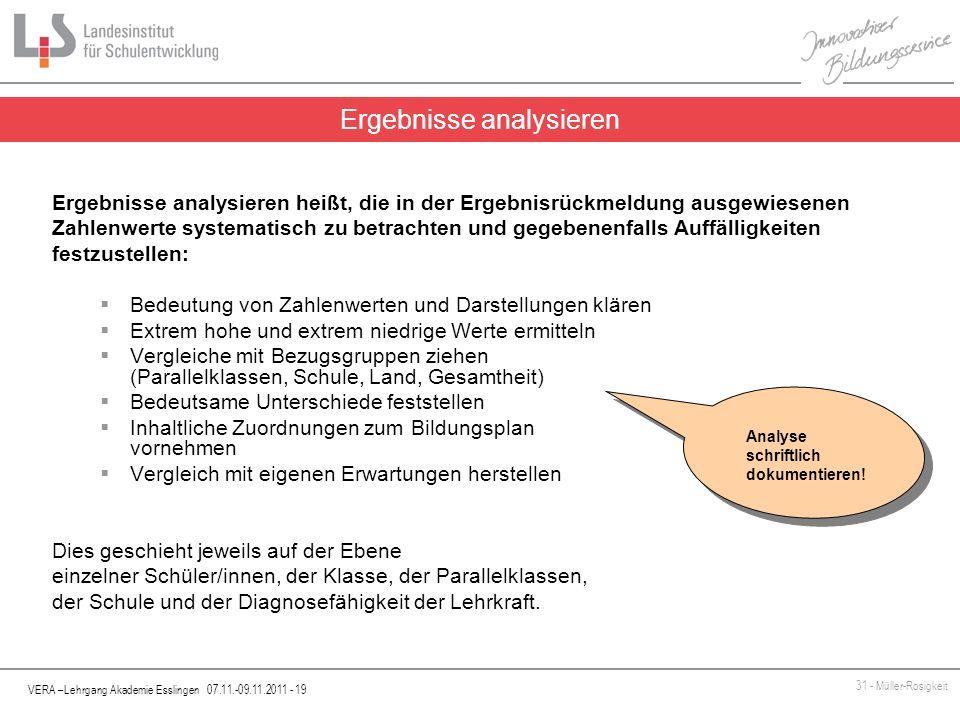 VERA –Lehrgang Akademie Esslingen 07.11.-09.11.2011 - 19 31 - Müller-Rosigkeit Ergebnisse analysieren heißt, die in der Ergebnisrückmeldung ausgewiese