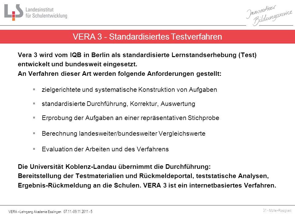 VERA –Lehrgang Akademie Esslingen 07.11.-09.11.2011 - 5 31 - Müller-Rosigkeit Vera 3 wird vom IQB in Berlin als standardisierte Lernstandserhebung (Te