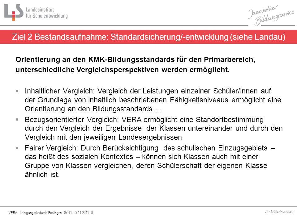 VERA –Lehrgang Akademie Esslingen 07.11.-09.11.2011 - 8 31 - Müller-Rosigkeit Ziel 2 Bestandsaufnahme: Standardsicherung/-entwicklung (siehe Landau) O