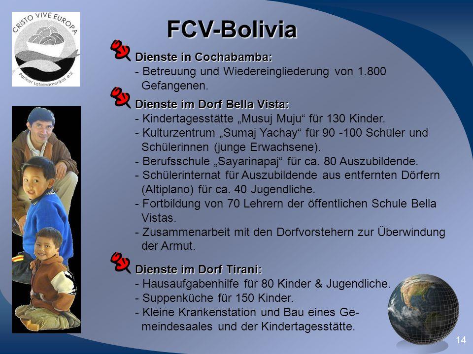 14 FCV-Bolivia Dienste im Dorf Bella Vista: - Kindertagesstätte Musuj Muju für 130 Kinder. - Kulturzentrum Sumaj Yachay für 90 -100 Schüler und Schüle