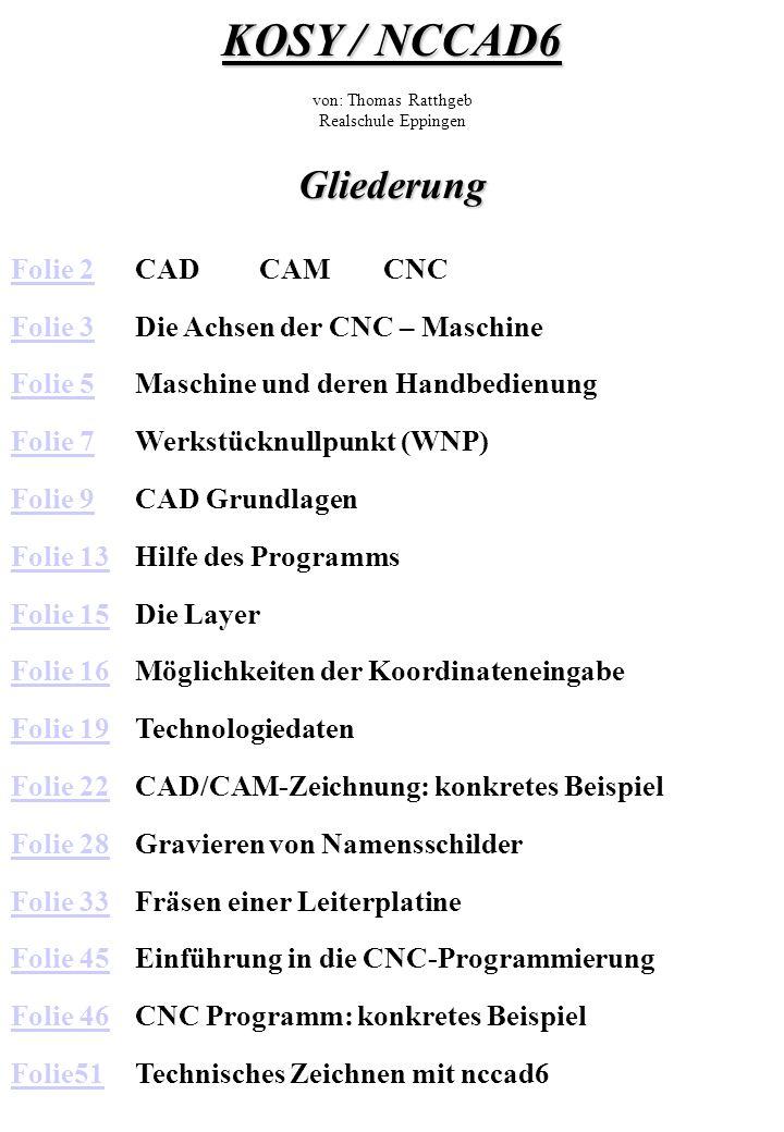 CAD CAM CNC CAD CAM CNC Computer Aided Design Computer Aided Manufacturing Computer Numerical Control Erstellen einer technischen Zeichnung Computer entwickelt aus der CAD-Zeichnung und den Technologiedaten das CNC-Programm Maschine wird manuell - Befehlszeile für Befehlszeile - programmiert.
