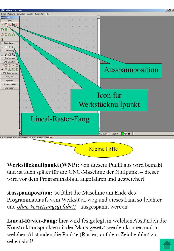 Werkstücknullpunkt (WNP): von diesem Punkt aus wird bemaßt und ist auch später für die CNC-Maschine der Nullpunkt – dieser wird vor dem Programmablauf