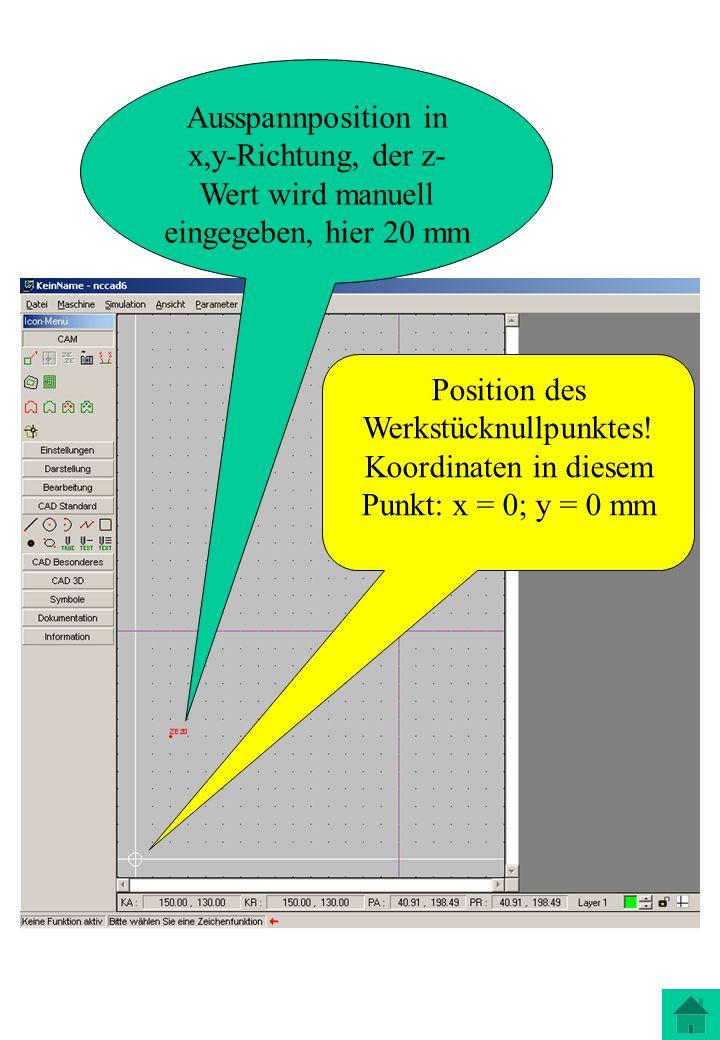 Position des Werkstücknullpunktes! Koordinaten in diesem Punkt: x = 0; y = 0 mm Ausspannposition in x,y-Richtung, der z- Wert wird manuell eingegeben,