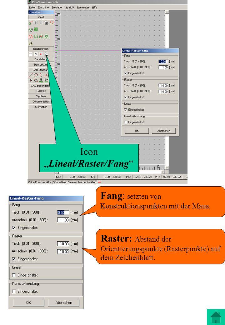 Icon Lineal/Raster/Fang Fang: setzten von Konstruktionspunkten mit der Maus. Raster: Abstand der Orientierungspunkte (Rasterpunkte) auf dem Zeichenbla