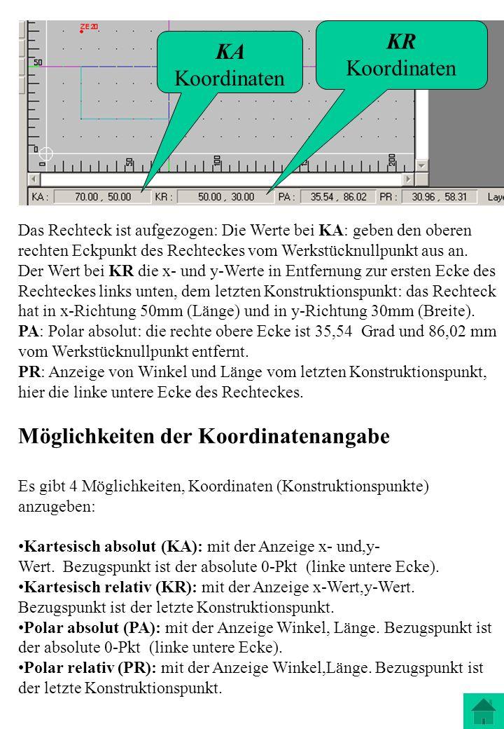 Das Rechteck ist aufgezogen: Die Werte bei KA: geben den oberen rechten Eckpunkt des Rechteckes vom Werkstücknullpunkt aus an. Der Wert bei KR die x-