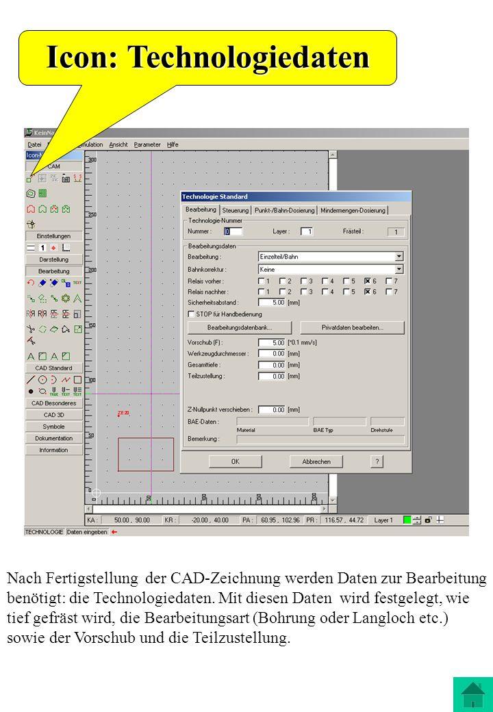 Nach Fertigstellung der CAD-Zeichnung werden Daten zur Bearbeitung benötigt: die Technologiedaten. Mit diesen Daten wird festgelegt, wie tief gefräst