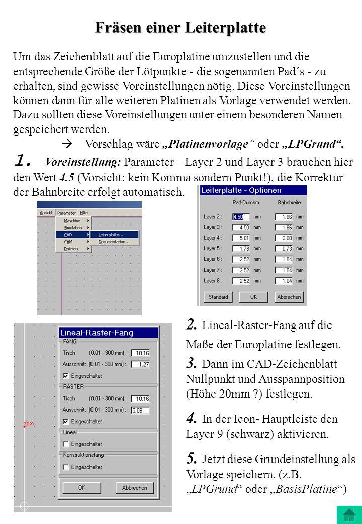 Fräsen einer Leiterplatte Um das Zeichenblatt auf die Europlatine umzustellen und die entsprechende Größe der Lötpunkte - die sogenannten Pad´s - zu e