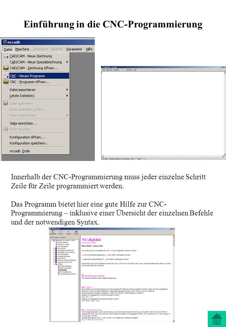 Einführung in die CNC-Programmierung Innerhalb der CNC-Programmierung muss jeder einzelne Schritt Zeile für Zeile programmiert werden. Das Programm bi