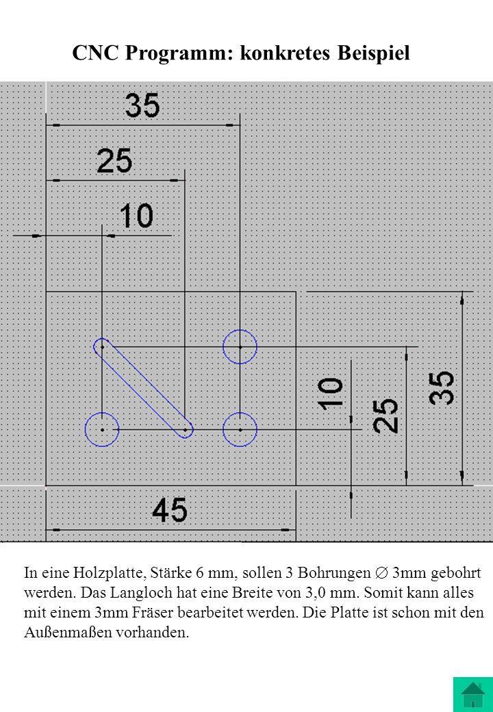 CNC Programm: konkretes Beispiel In eine Holzplatte, Stärke 6 mm, sollen 3 Bohrungen 3mm gebohrt werden. Das Langloch hat eine Breite von 3,0 mm. Somi