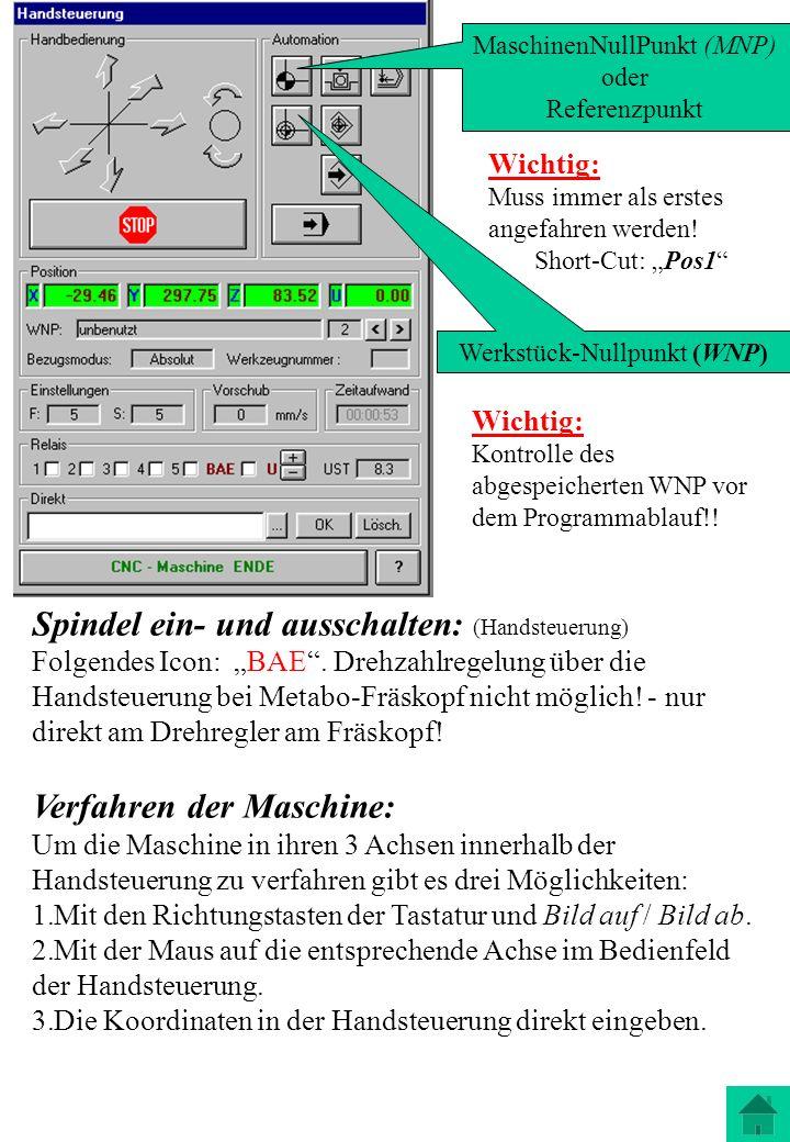 Spindel ein- und ausschalten: (Handsteuerung) Folgendes Icon: BAE. Drehzahlregelung über die Handsteuerung bei Metabo-Fräskopf nicht möglich! - nur di