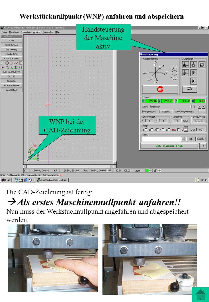 ; CNC Beispiel: Platte ; Fräserdurchmesser 3 mm ; Tiefe 6 mm G00 X10 Y10 ;Anfahren über erster Bohrung G00 Z1 ;1mm über dem Werkstück M10 O6.1 ; Spindel ein Buchstabe O, keine 0 G01 Z-6.5 F200 ; Arbeitsvorschub mit F200 zum Bohren G00 Z1 ; Ausfahren im Eilgang G00 X35 Y10 ; Anfahren der 2ten Bohrung G01 Z-6.5 ; Bohren G00 Z1 ; Ausfahren G00 X35 Y25 ; Anfahren der 3ten Bohrung G01 Z-6.5 ; Bohren G00 Z1 ; Ausfahren G00 X10 Y25 ; Anfahren Langloch G01 Z-6.5 ; Eintauchen G01 X25 Y10 ; Fräsen Langloch G00 Z20 ; Ausfahren aus Langloch M10 O6.0 ; Spindel aus G00 X50 Y50 ; Ausspannposition anfahren Über die Simulation das Programm immer testen!