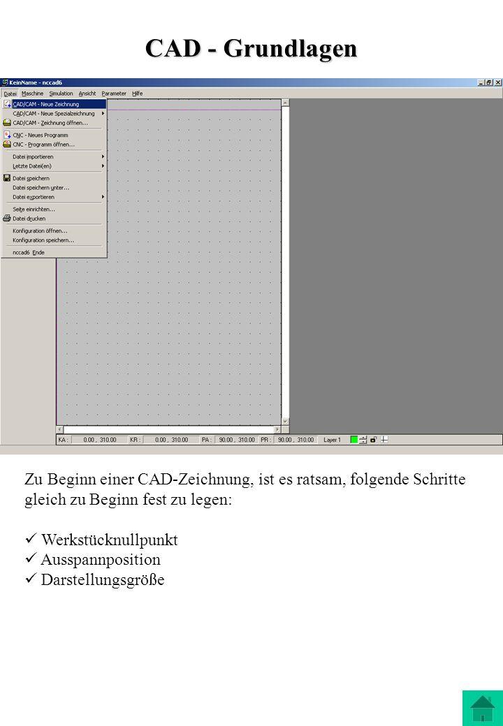 CAD - Grundlagen Zu Beginn einer CAD-Zeichnung, ist es ratsam, folgende Schritte gleich zu Beginn fest zu legen: Werkstücknullpunkt Ausspannposition D