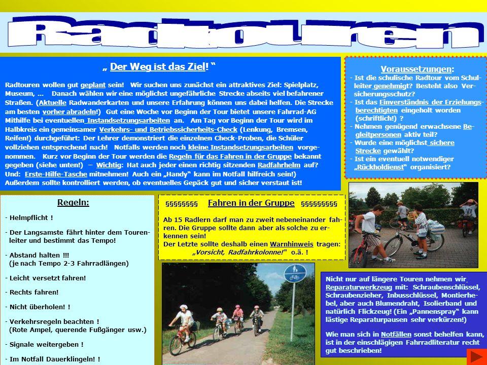Der Weg ist das Ziel.Radtouren wollen gut geplant sein.