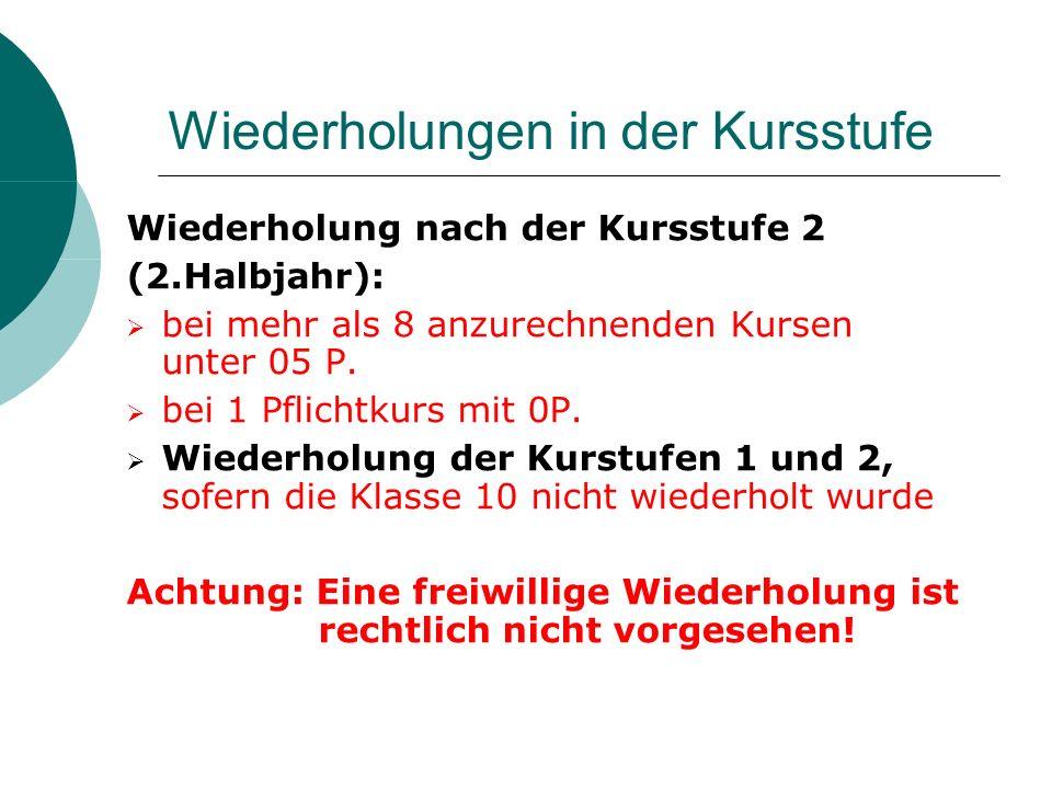 Wiederholungen in der Kursstufe Wiederholung nach der Kursstufe 2 (2.Halbjahr): bei mehr als 8 anzurechnenden Kursen unter 05 P.