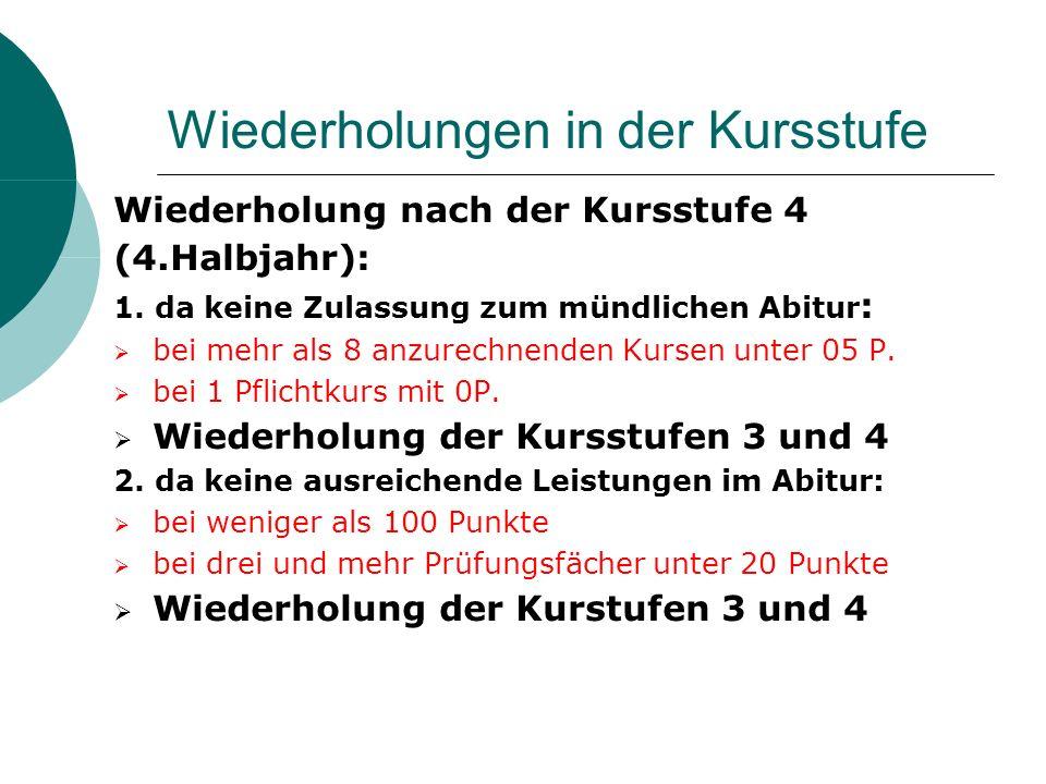 Wiederholungen in der Kursstufe Wiederholung nach der Kursstufe 4 (4.Halbjahr): 1.