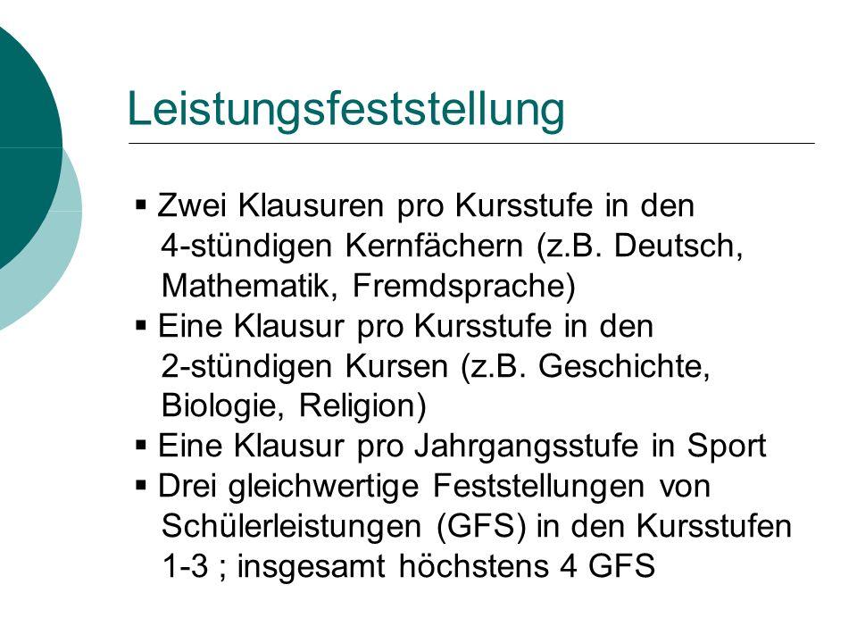 Zwei Klausuren pro Kursstufe in den 4-stündigen Kernfächern (z.B.