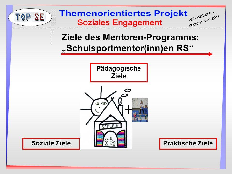 Ziele des Mentoren-Programms: Schulsportmentor(inn)en RS Soziale Ziele Pädagogische Ziele Praktische Ziele