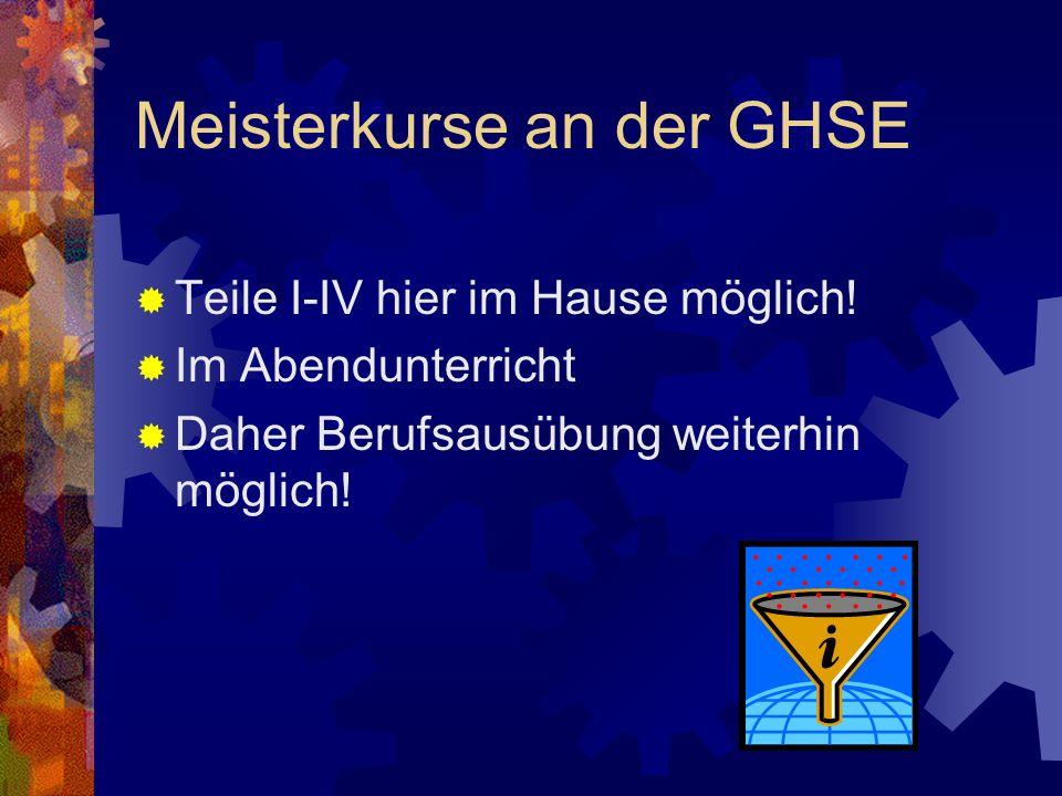 Meisterkurse an der GHSE Teile I-IV hier im Hause möglich.