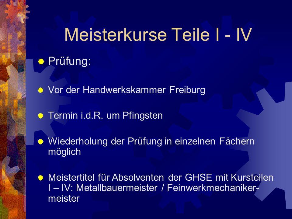 Meisterkurse Teile I - IV Prüfung: Vor der Handwerkskammer Freiburg Termin i.d.R.
