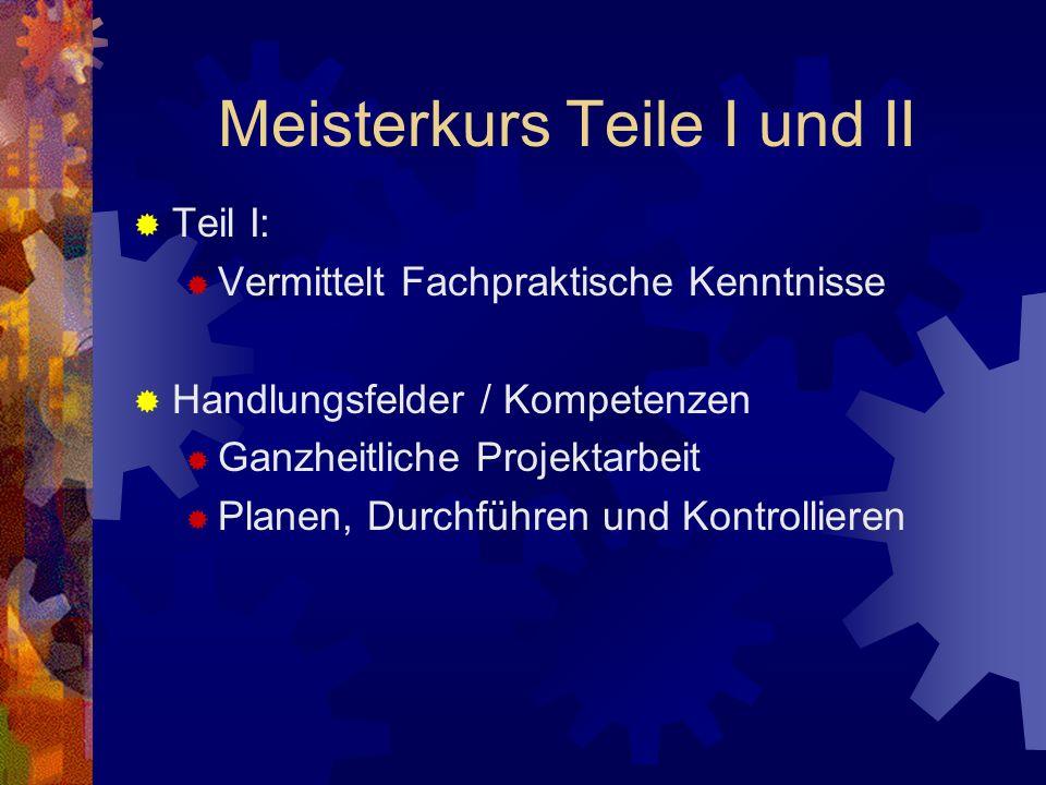 Meisterkurs Teile I und II Teil II: Vermittelt Fachtheoretische Kenntnisse Handlungsfelder / Kompetenzen Feinwerktechnik Auftragsabwicklung Betriebsführung und Betriebsorganisation