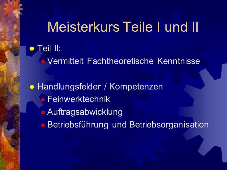 Meisterkurs Teile I und II Zulassung: Industriemechaniker, Werkzeugmechaniker, Metallbauer und Artverwandte Berufe Voraussetzung ist die bestandene Facharbeiter- oder Gesellenprüfung.