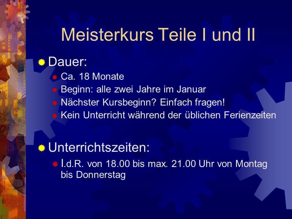 Meisterkurs Teile I und II Dauer: Ca.