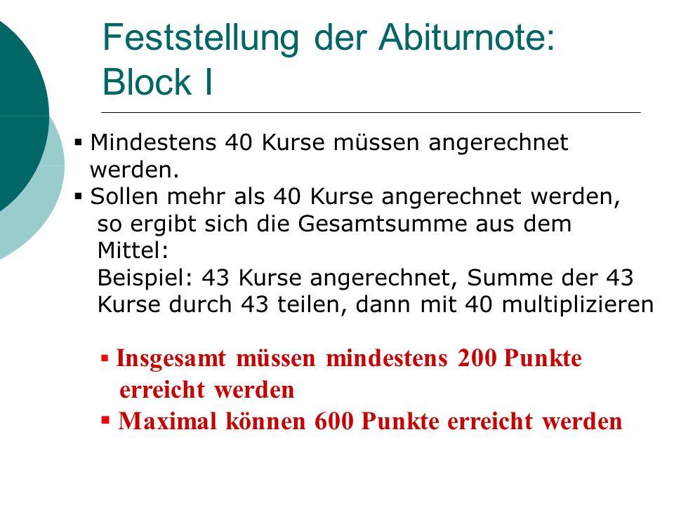 Feststellung der Abiturnote: Block I Mindestens 40 Kurse müssen angerechnet werden. Sollen mehr als 40 Kurse angerechnet werden, so ergibt sich die Ge