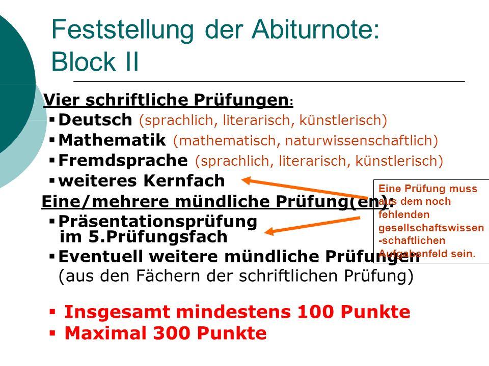 Feststellung der Abiturnote: Block II Vier schriftliche Prüfungen : Deutsch (sprachlich, literarisch, künstlerisch) Mathematik (mathematisch, naturwis