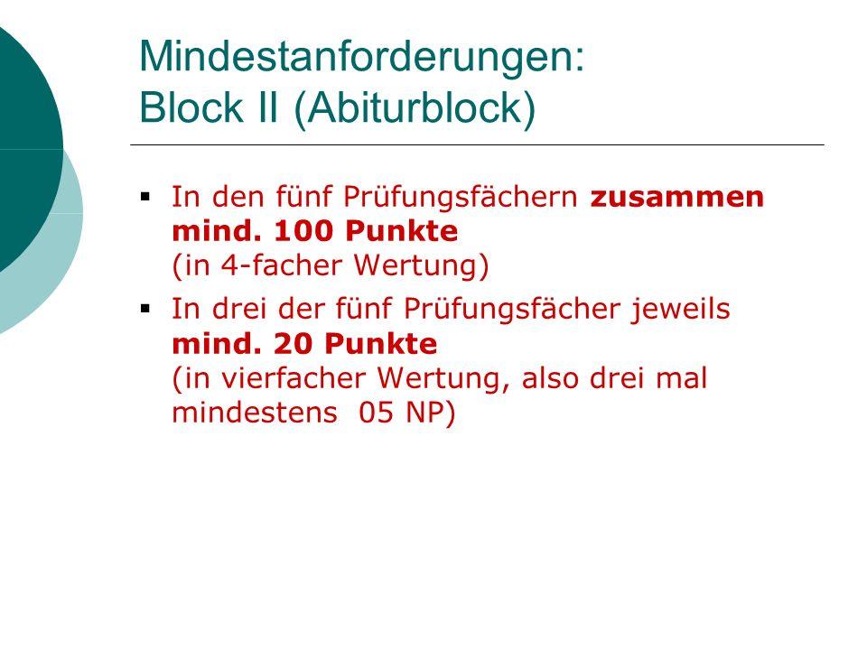 Mindestanforderungen: Block II (Abiturblock) In den fünf Prüfungsfächern zusammen mind. 100 Punkte (in 4-facher Wertung) In drei der fünf Prüfungsfäch