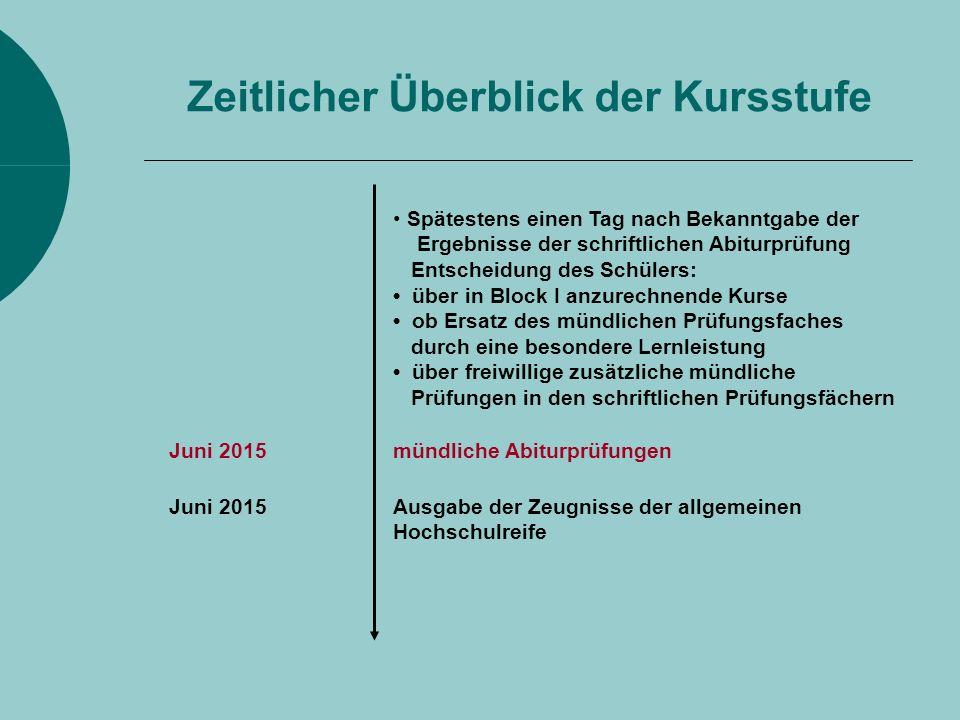 Juni 2015mündliche Abiturprüfungen Juni 2015Ausgabe der Zeugnisse der allgemeinen Hochschulreife Spätestens einen Tag nach Bekanntgabe der Ergebnisse