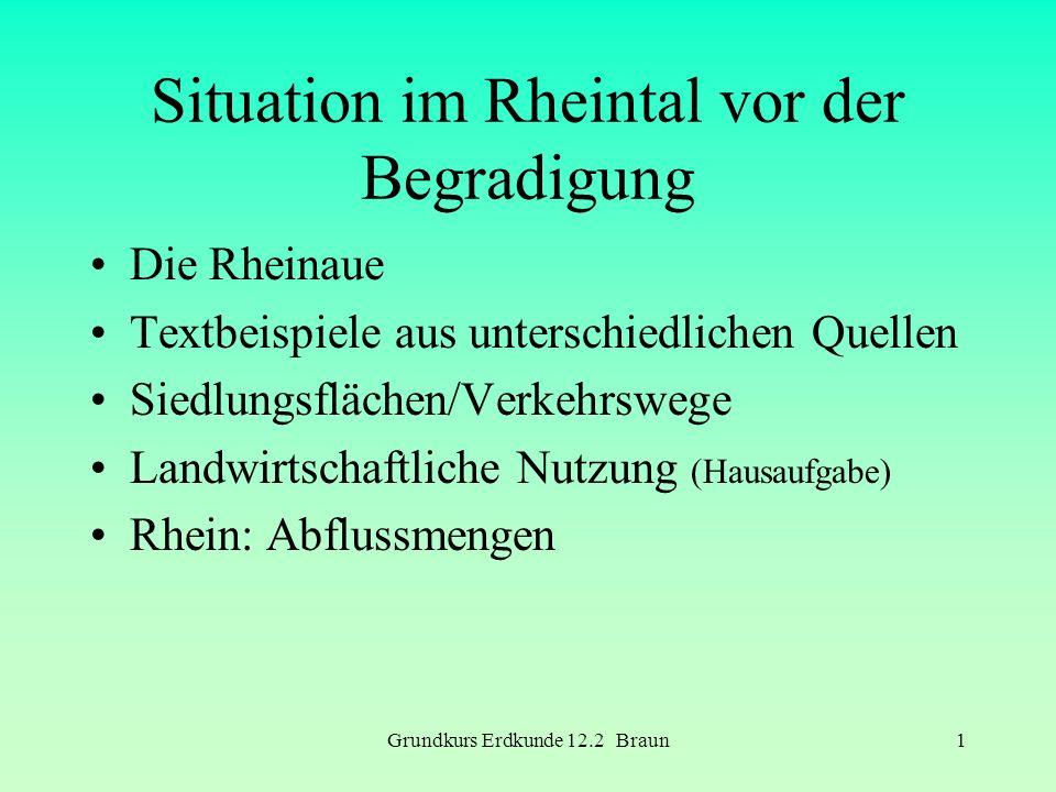Grundkurs Erdkunde 12.2 Braun1 Situation im Rheintal vor der Begradigung Die Rheinaue Textbeispiele aus unterschiedlichen Quellen Siedlungsflächen/Ver