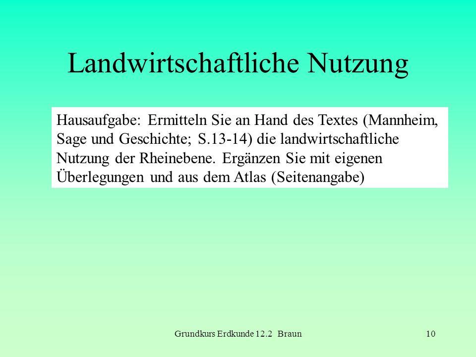 Grundkurs Erdkunde 12.2 Braun10 Landwirtschaftliche Nutzung Hausaufgabe: Ermitteln Sie an Hand des Textes (Mannheim, Sage und Geschichte; S.13-14) die