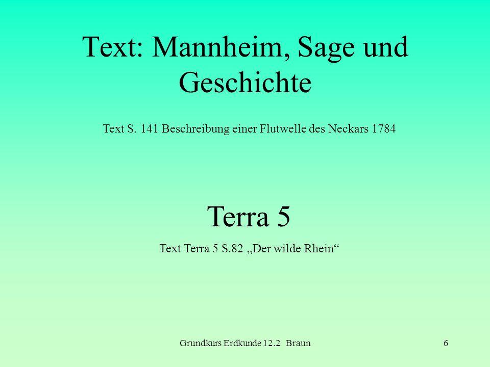 Grundkurs Erdkunde 12.2 Braun6 Text: Mannheim, Sage und Geschichte Text S. 141 Beschreibung einer Flutwelle des Neckars 1784 Terra 5 Text Terra 5 S.82