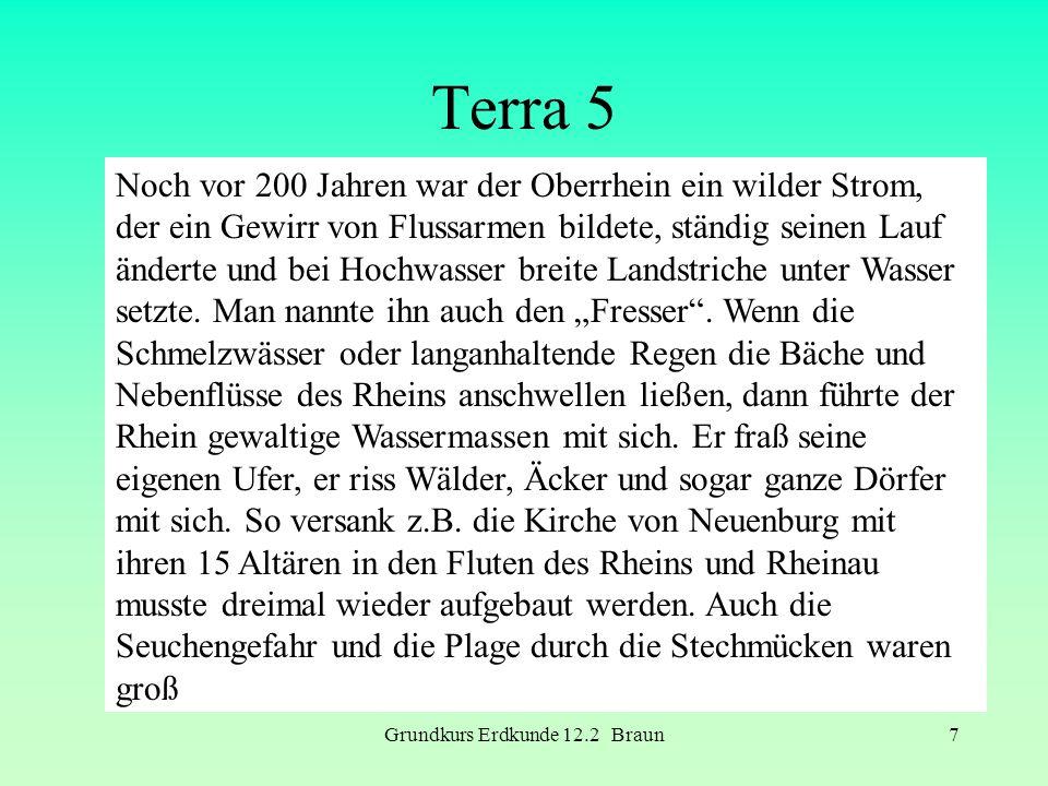 Grundkurs Erdkunde 12.2 Braun7 Terra 5 Noch vor 200 Jahren war der Oberrhein ein wilder Strom, der ein Gewirr von Flussarmen bildete, ständig seinen L