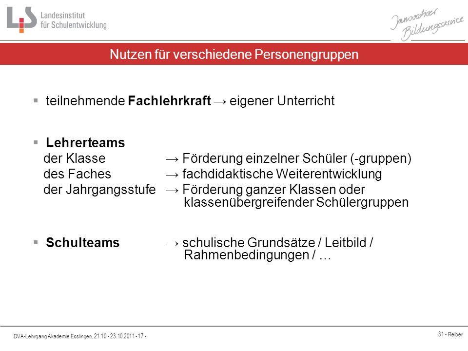 Platzhalter DVA-Lehrgang Akademie Esslingen, 21.10.- 23.10.2011 - 17 - 31 - Reiber Nutzen für verschiedene Personengruppen teilnehmende Fachlehrkraft