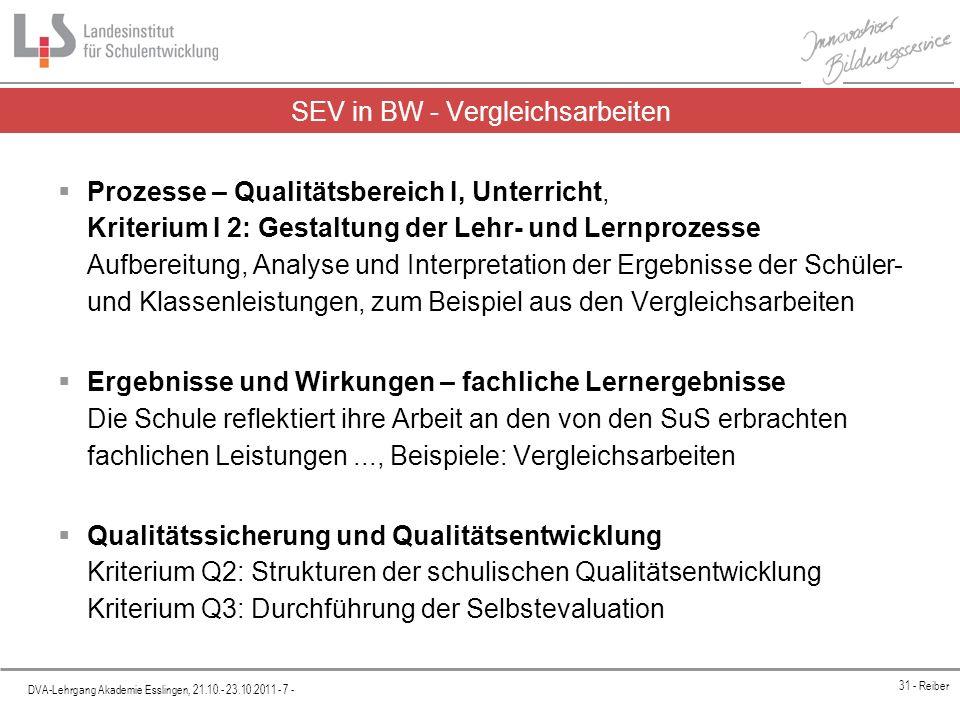 Platzhalter DVA-Lehrgang Akademie Esslingen, 21.10.- 23.10.2011 - 18 - 31 - Reiber Umgang mit den Daten Ergebnisse werden analysiert Ergebnisse werden interpretiert Konsequenzen werden gezogen Auswertungsergebnisse werden in eigener Verantwortung für die interne Schulenwicklung genutzt
