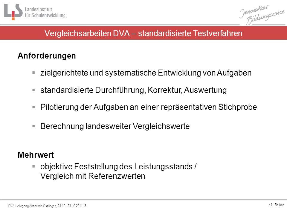 Platzhalter DVA-Lehrgang Akademie Esslingen, 21.10.- 23.10.2011 - 9 - 31 - Reiber Mehrwert von Vergleichsarbeiten Klasse A (Notenschnitt 3,0)Klasse B (Notenschnitt 3,0) Landes- mittel Mittelwert Kl.
