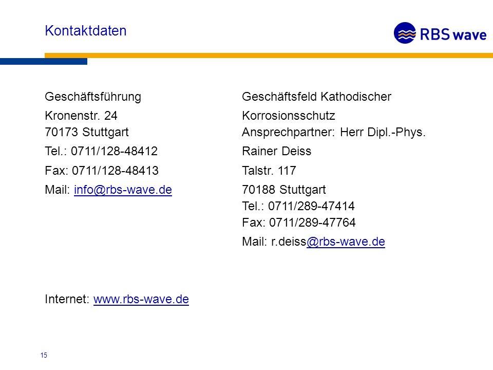 Kontaktdaten GeschäftsführungGeschäftsfeld Kathodischer Kronenstr. 24Korrosionsschutz 70173 StuttgartAnsprechpartner: Herr Dipl.-Phys. Tel.: 0711/128-