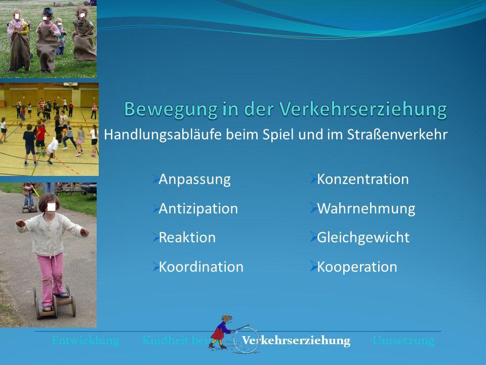 Anpassung Antizipation Reaktion Koordination Entwicklung Kindheit heute Verkehrserziehung Umsetzung Konzentration Wahrnehmung Gleichgewicht Kooperatio